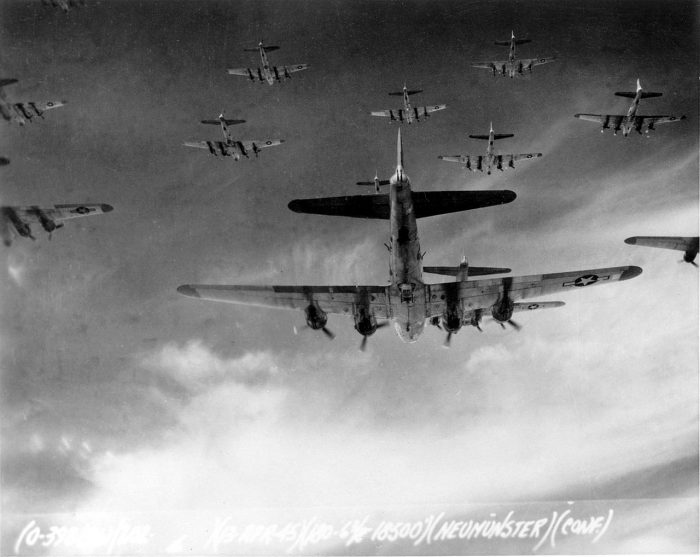 B-17s flying in formation on their way to Germany, a long trip that the P-51 could also do.