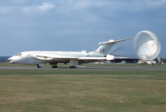 A Handley Page Victor in its 'anti flash' white paint, deploying its drag chute upon landing.