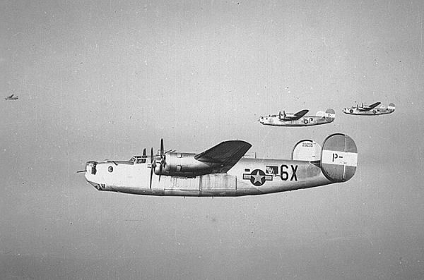 B-24 Bombers like that flow by the WWII veteran.