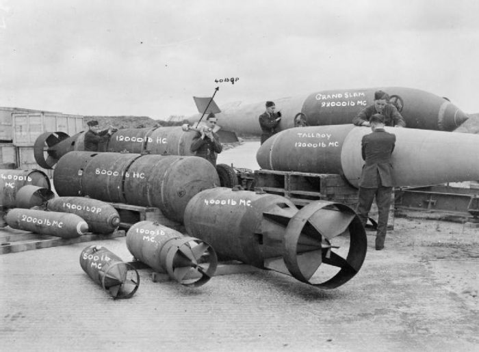 This collection of ordinance shows the huge size of the Tall Boy bomb, and the even larger Grand Slam Bomb.