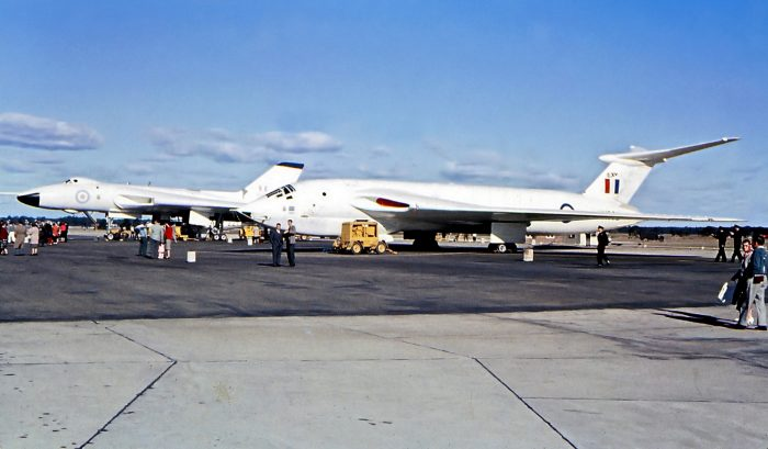 A Victor and Vulcan bomber together at an air show in 1964. Credit: aussiejeff CC BY 2.0