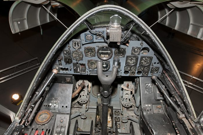 The cockpit dials and instruments of in the Dornier Do 335. Image courtesy of Smithsonian National Air and Space Museum.