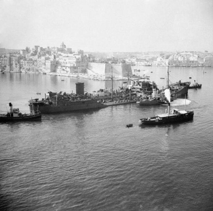 The incredibly stubborn oil tanker SS Ohio, after repeated attacks from the Germans, arriving in Malta.