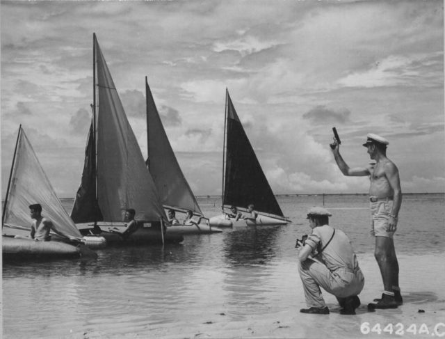 Given a little downtime on Palau, a bomber crew of the 7th Air Force turned fuel tanks into racing sailboats. You will see this in Vietnam too. (NARA)