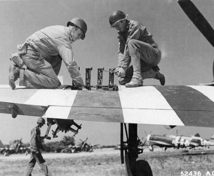 366th FG P-47 Machine Gun Maintenance at Saint Pierre du Mont Airfield A-1, 1944