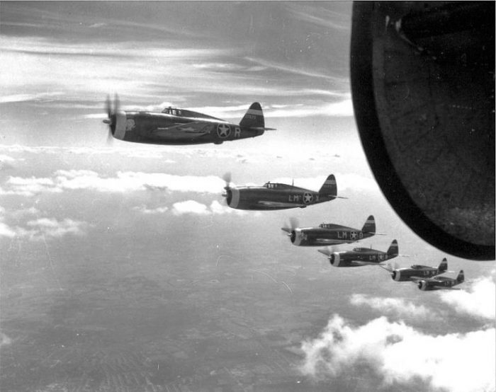62d Fighter Squadron P-47 Thunderbolts on an escort mission, 1943.