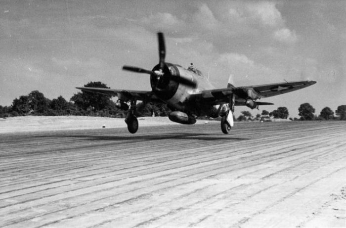 A P-47 Thunderbolt during take off.