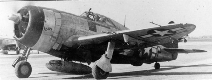 """A two-seat P-47 Thunderbolt nicknamed """"Astra"""" of the 365th Fighter Group."""