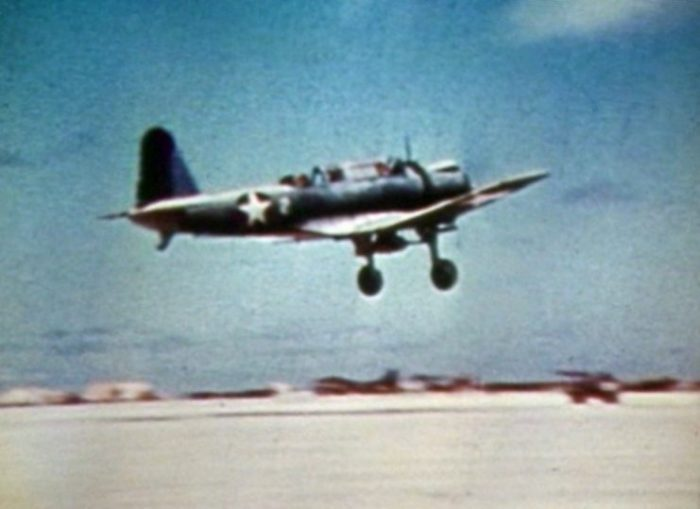 A U.S. Marine Corps Vought SB2U-3 Vindicator dive bomber of Marine scout bombing squadron VMSB-241 taking off from Eastern Island, Midway Atoll, during the Battle of Midway, 4-6 June 1942.
