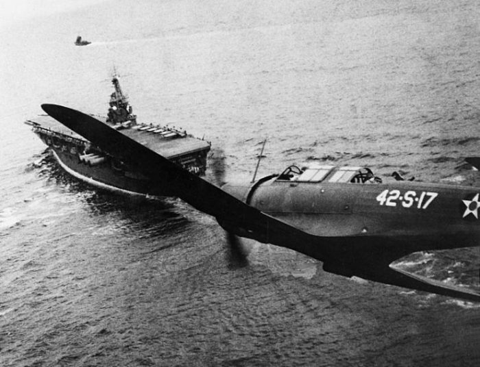 A U.S. Navy Vought SB2U Vindicator (42-S-17) of Scouting Squadron 42 (VS-42) returning to the aircraft carrier USS Ranger (CV-4) on 4 December 1941. Ranger was escorting a convoy in the Atlantic.