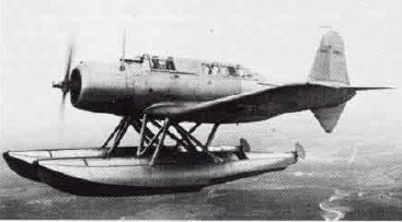 A Vought XSB2U-3 Vindicator experimental floatplane in flight, late 1930s.
