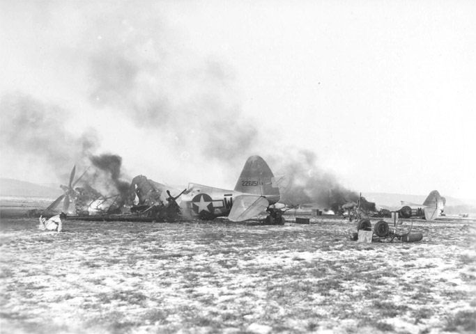 Destroyed P-47s at Y-34 Metz-Frescaty airfield.
