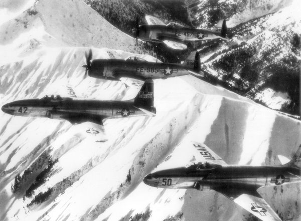 F-80s and F-47s of the 36th and 86th Fighter Wings over Germany.