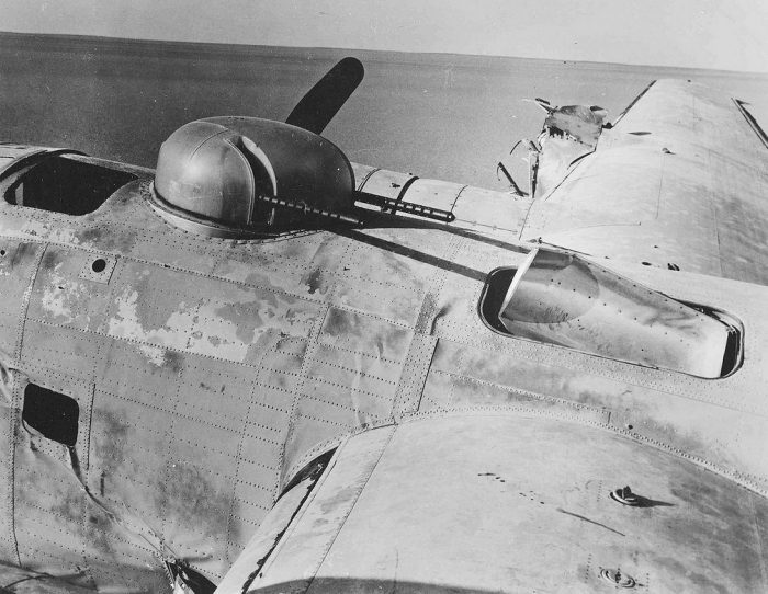 The aircrafts dorsal turret and upper-mid fuselage.