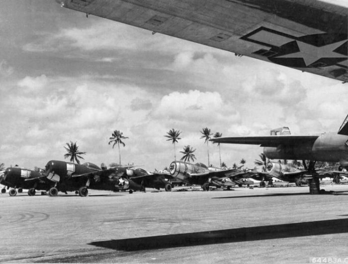 Newly arrived USAAF Republic P-47 Thunderbolts lined up in a maintenance area at Agana Airfield, Guam, Marianas Islands on 28 March 1945.