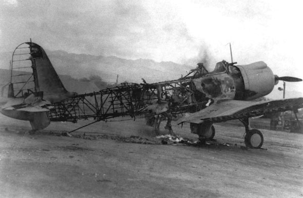 One of the seven Vought SB2U-3 Vindicators of U.S. squadron VMSB-231 destroyed on the field at Ewa during the attack on Pearl Harbor