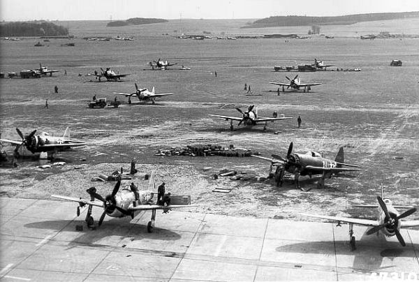 P-47Ds of the 48th Fighter Group at an advanced landing ground in France.