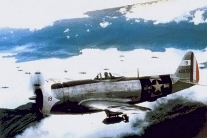Mexican P-47D Thunderbolt over the Philippines.