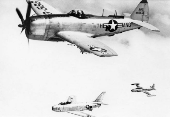 Republic F-47N-5-RE Thunderbolt 44-88566 along with an F-86A Sabre and T-33 Shooting Star trainer, 1954