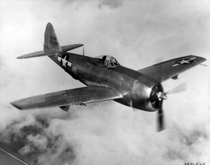 1940's Republic P-47N Thunderbolt. Thunderbolt flies its first combat mission a sweep over the Pacific. Used as both a high-altitude escort fighter and a low-level fighter-bomber, the P-47 quickly gained a reputation for ruggedness. Its sturdy construction and air-cooled radial engine enabled the Thunderbolt to absorb severe battle damage and keep flying. (U.S. Air Force photo)
