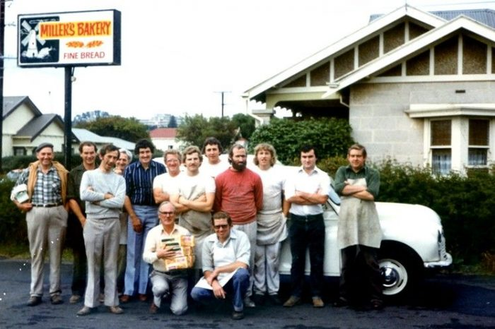 Miller (front centre) and the rest of the staff at his family bakery business in 1982.
