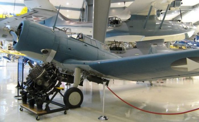 Vought SB2U Vindicator, Naval Aviation Museum, Pensacola, Florida.Photo Greg Goebel CC BY-SA 2.0