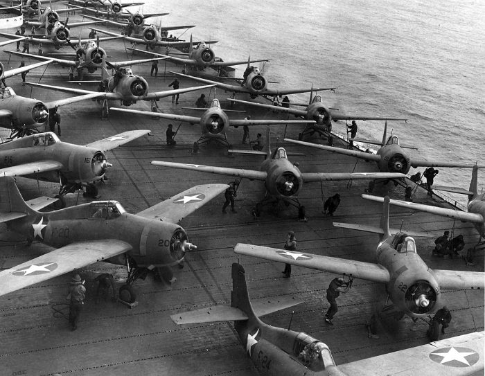 Flight deck of USS Hornet (CV-8) on the morning of 4 June 1942. Aircraft are spotted and ready to take off for strike on Japanese Kido Butai during Battle of Midway.