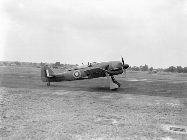 A captured Focke-Wulf Fw 190A-3 at the Royal Aircraft Establishment Farnborough with the RAEs chief test pilot Wing Commander H J -Willie- Wilson at the controls August 1942.