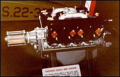 A geared Hispano-Suiza 8BE engine on display at the NMUSAF.