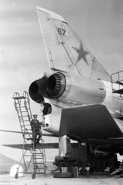 A Soviet engineer checks the 23-mm R-23 cannon in the remotely controlled tail turret.