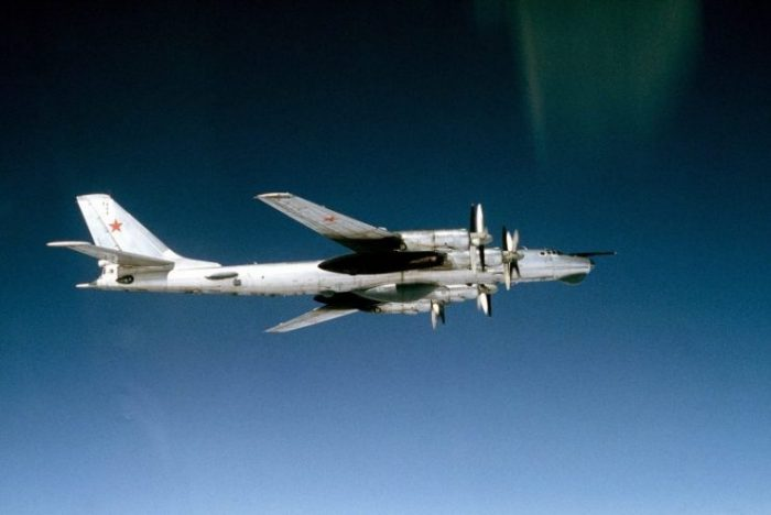 A Tu-95RTs Bear D (Door Number 17) of Soviet Naval Aviation in flight in May 1983.
