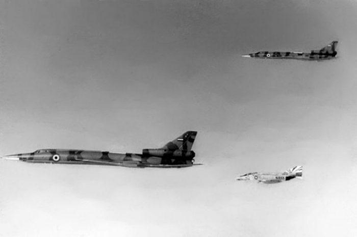 A U.S. Navy F-4N intercepts Tu-22s being delivered to Libya in 1977.