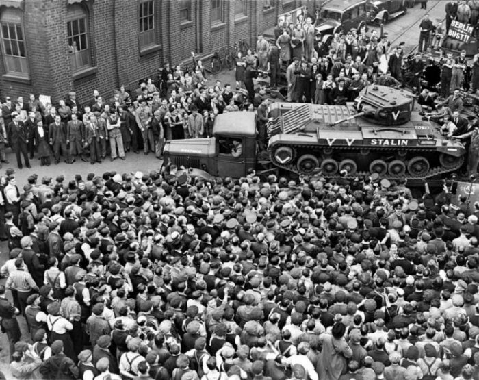 A Valentine tank destined for the Soviet Union leaves the factory in Britain.