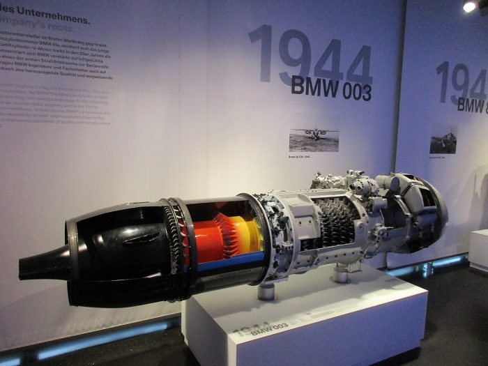 The BMW 003 turbojet engine used in the He 162 Salamander. Image by Arnaud 25 CC BY-SA 4.0