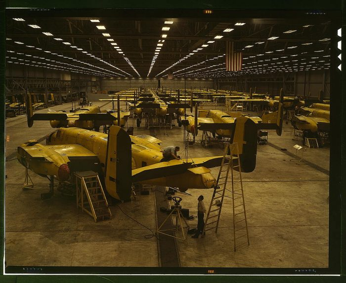 Assembling B-25 bombers at North American Aviation, Kansas City, Kansas
