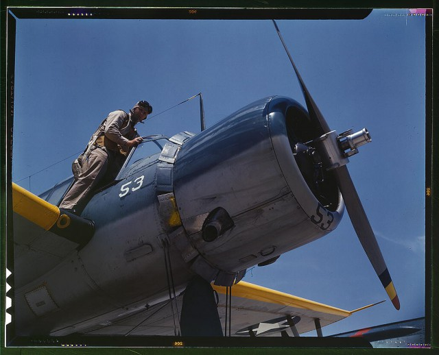 Aviation cadet in training in a vought OS2U Kingfisher at the Naval Air Base, Corpus Christi, Texas.