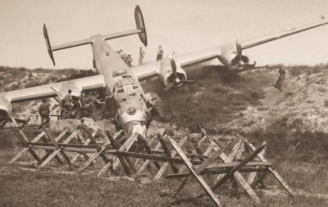 B-24 after an emergency landing
