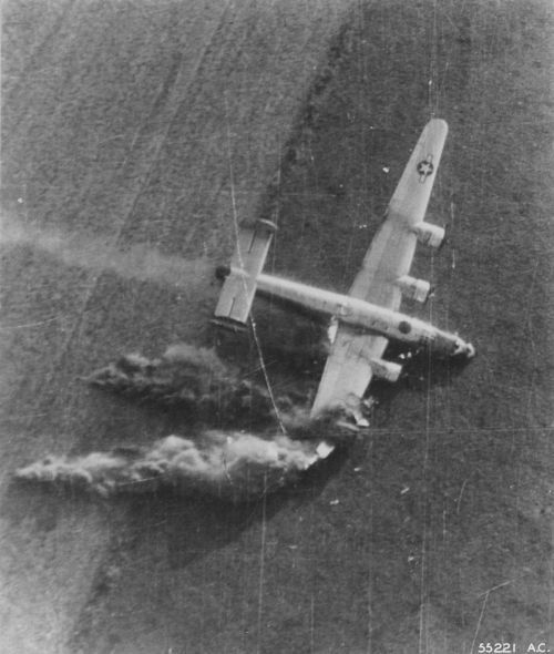B-24 caught just at the moment of crashing during Operation Market Garden, Holland Sept 1944.