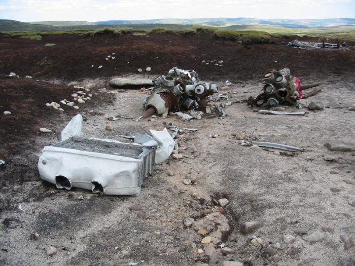 The wreckage of a B-29 that crashed on the Bleaklow Moor in the Peak District in 1948. Much of the wreckage still remains, however large quantities have been taken away over the years.