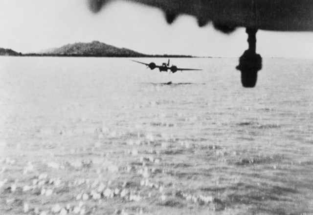 "Blenheim aircraft from 60 Squadron RAF level out for the ""run in"" to make a mast-head attack on a Japanese coaster off Akyab, Burms in 1942"
