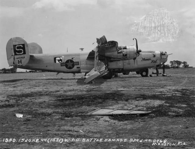 Damaged B24 at Manston after emergency landing 15 June 1944