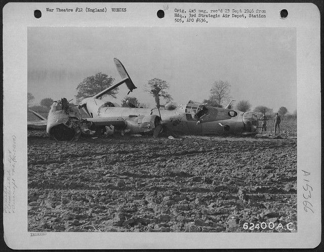 B-24J-1-DT Liberator s/n 42-51250 701st Bomb Squadron, 445th Bomb Group, 8th Air Force. Damaged over Coblenz, Germany on the return flight from bombing the marshalling yards at Hanau, Germany on November 11,1944. She crash landed at her home field of Tibenham.