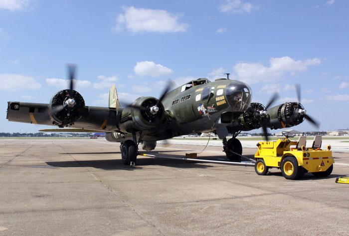 Texas Raiders B-17 undergoing main wing spar replacement. Image by Ebdon CC BY 3.0