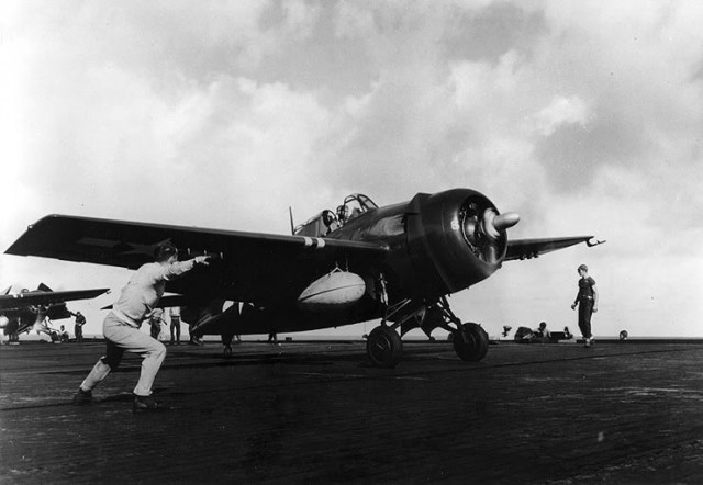 A U.S. Navy Grumman FM-2 Wildcat fighter of composite squadron VC-84 launching from the escort carrier USS Makin Island (CVE-93) in the Pacific in 1945.