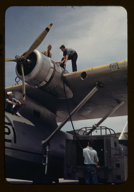 Fueling a Consolidated PBY at the Naval Air Base, Corpus Christi, Texas.