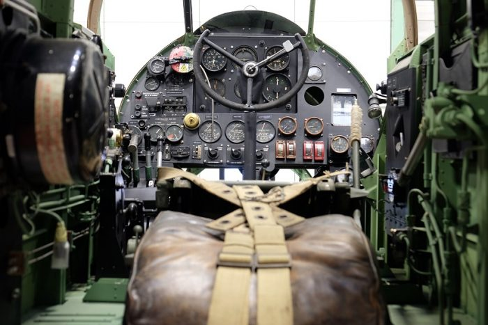 The cramped cockpit of the Handley-Page Hampden. Image courtesy of Royal Air Force Museum Cosford.