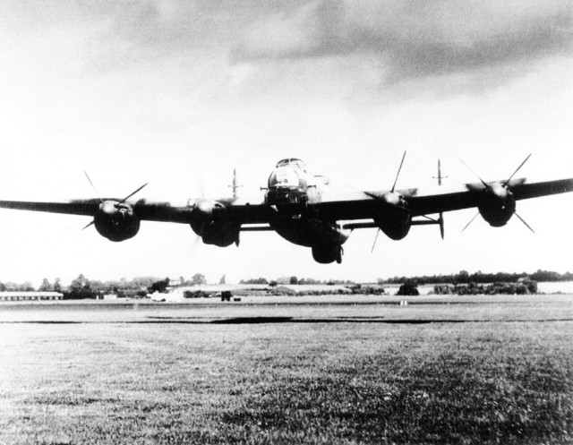 Lancaster low pass, with 3 engines feathered. Scary.