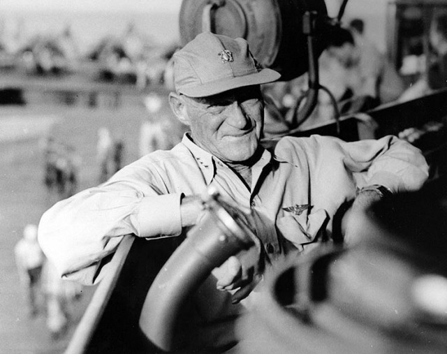 Vice Admiral Marc A. Mitscher on board USS Lexington (CV-16), at the time of the Marianas campaign, June 1944.