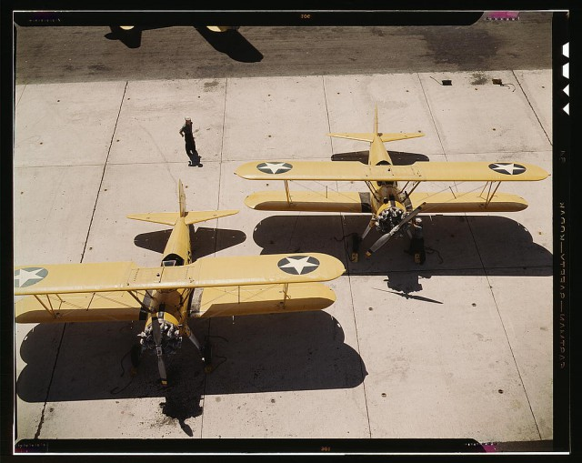 Navy N2S primary land planes at the Naval Air Base in Corpus Christi, Texas.