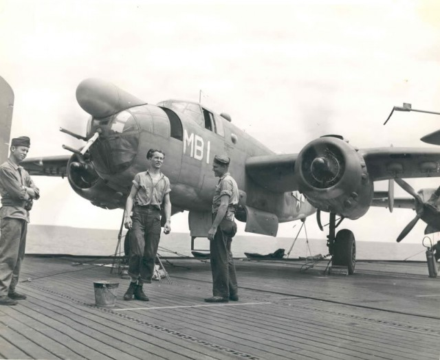 A North American PBJ-1D Mitchell bomber of U.S. Marine Corps bombing squadron VMB-611 on the deck of the escort carrier USS Manila Bay (CVE-61) during transport of the squadron's flight echelon to its operating area in the Pacific, August 1944.